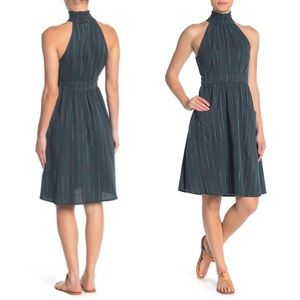 Moon River Mock Neck Stripe Midi Dress